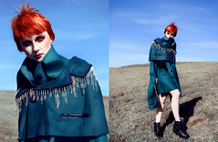 'At the Forefront.' (Laura Jane Harding) Tags: shadow sunlight green fashion pose countryside makeup pins redhead conceptual avant garde harsh