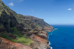 Nā Pali coast (Lena and Igor) Tags: ocean travel blue sea sky usa island hawaii coast us nikon colorful zoom sigma cliffs telephoto kauai dslr 1770 nāpali d7000