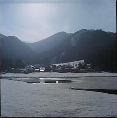 (bensn) Tags: houses light lake snow mountains film water japan zeiss kodak hasselblad carl 100 nagano f28 80mm 500cm ektar