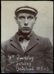 William Townsley, labourer, arrested for stealing jewellery (Tyne & Wear Archives & Museums) Tags: portrait man male face shirt youth handwriting interesting scary unitedkingdom mark stripes coat fine grain young surreal police historic gateshead jewellery suit criminal crime cap button mugshot unusual pocket theft policestation prestonpark attentive bail edwardian warrant arrest stealing prisoner fascinating digitalimage labourer larceny sentenced northshields imprisoned acquitted northtyneside socialhistory accomplice blackandwhitephotograph blackoutline northeastofengland neutralbackground newspaperreport courthearing staffordprison 190216 northshieldspolicecourt criminalfacesofnorthshieldsthemen northshieldspolicestation theshieldsdailynews detectiveradcliffe chiefconstablemrjhhuish lukeswailes welburyhouseprestonpark gatesheadpolicestation ethelanniefreeth gatesheadconstabulary threeyearspenalservitude 29september1906 alfredjohnfreeth elizabethirvin williamtownsley 27thofnovember1905