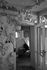 Deutschland Sachsen Kohlmule DSC_0466SW (reinhard_srb) Tags: lost deutschland place fenster fabrik ruine sachsen linoleum mll absperrung werk beton mauer kabel leiter eisen arbeiter ziegel gelnde rohre leitung schlot abbruch schutt treppenstufen abluft bodenbelag kohlmhle teichfolie erzeugung likolit