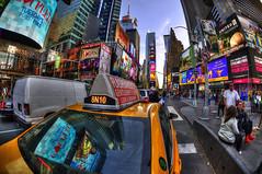 TAXI!! (Brandon Godfrey) Tags: timessquare newyorkcity nyc thebigapple cab taxi lights neons city urban broadway colors colours colorful colourful yellow newyork manhattan midtown billboard northamerica busy usa unitedstates unitedstatesofamerica