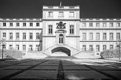 New Castle, Stuttgart (geojpix) Tags: 135 analog blackwhite film ir720 infrared infrarot olympusom1 rodinal rolleiinfrared stuttgart badenwrttemberg deutschland de bwfp symmetrie