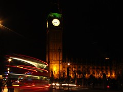 'Bendy-Bus' (mr_snipsnap) Tags: light red bus london westminster night transport trails parliament