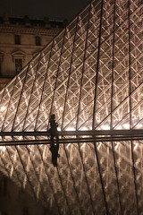 Passing by (Gravitational Lens) Tags: paris architecture night pyramid louvre louvrepyramid