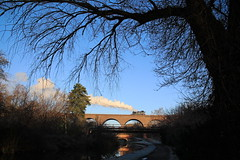 Historic canal view in a conservation area - tank engine on SVR viaduct (Keith Wilko) Tags: trains steam worcestershire railways locomotives railroads locos steamtrains svr severnvalleyrailway kidderminster steamengines steamlocomotives steamrailways preservedrailways railwayengines uksteam heritagerailways uksteamtrains steamrailroads steamtrainsintheuk svrlocomotives svrsantaspecials