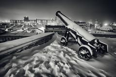 (William Self) Tags: winter blackandwhite bw snow canada night evening december quebec cannon quebeccity vieuxquebec oldquebec 2014 villedequebec sonynex6