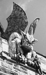 Chained Gargoyle (JKEL) Tags: bw halloween blackwhite gargoyle chained easternstatepenitentiary 2014