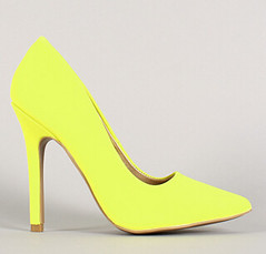 "neon nubuck pointy toe pump 100 neon yellow • <a style=""font-size:0.8em;"" href=""http://www.flickr.com/photos/64360322@N06/15542270628/"" target=""_blank"">View on Flickr</a>"