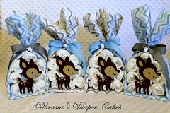 Deer Stork Bundles Baby Shower Centerpieces (Dianna's Diaper Cakes) Tags: girls baby cakes boys shower diaper gift newborn centerpiece gender neutral