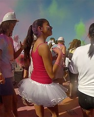 White Tutu Runner (Kevin MG) Tags: ca girls red usa cute children fun athletic funny colorful pretty young running dye tutu preteen speedway irwindale irwindalespeedway colorrun runordye