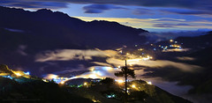 Silence (Singer ) Tags: cloud mist mountain tree fog composition canon lights star nightshot taiwan silhouettes atmosphere  valley zen singer layer    f4  iso1600  longexpose oneshot   nightscenes seaofclouds  70mm     blackcard                  canonef70200mmf4lisusm is  cloudfall  canon6d         singer186     777sec