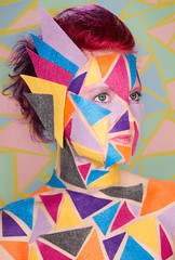 Patterns: 2 in a series. (jenvankaam) Tags: red portrait abstract color triangles self hair jen pattern bright felt van multicolor kaam