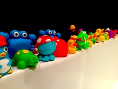 Bath time (slim_7869) Tags: blue friends red playing green apple water animals yellow fun toy toys penguin duck bath purple turtle crab rubber frog plastic wash seal octopus colourful squirt splash bathtime rubberduck iphone bathtoys kidstoys firemansam bathfriends iphone5s