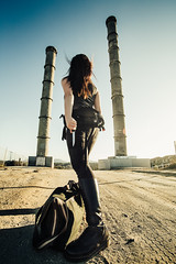 Approaching District 951 (CandiceErica) Tags: california winter light portrait woman usa selfportrait color art abandoned me girl beauty yellow female composition photoshop canon hair eos us model industrial hand unitedstates skin action outdoor perspective creative adventure conceptual cinematic lightroom 6d urbex 2014 candiceerica