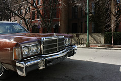 Let's Face It (Flint Foto Factory) Tags: city roof urban brown white chicago classic car sedan hotel illinois spring downtown platform vinyl dana grill ornament chrome american newport april hood intersection 1978 chrysler mopar residence statest 1977 curb spa luxury 1976 brownstone standup fullsize 2014 4door eriest cbody