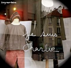 Shopwindow in Ivry (Kay Harpa) Tags: paris france liberty freedom flickr together shopwindow share charliehebdo ivrysurseine 11janvier2015