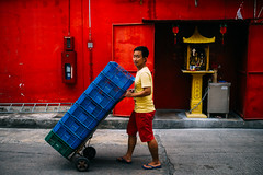 Blue and red (Sean Lowcay (sealow08)) Tags: street city blue red portrait people asian lumix photography photo singapore asia market citylife streetphotography streetlife streetscene panasonic streetphoto 17mm gx7 dmcgx7 panasonicgx7