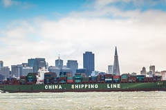 Made in China (Thomas Hawk) Tags: sanfrancisco china california america boat treasureisland fav50 container photowalk transamerica shipping import trade export transamericabuilding fav10 fav25 fav100 chinashippingline eea3 eyeem eea3sanfrancisco