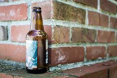 Beer on a wall (pillarsoflight) Tags: blue white green beer glass beauty oregon corner 35mm portland prime moss aperture nikon bricks letters adobe pdx 18 pnw lightroom wideaperture caulking d3300