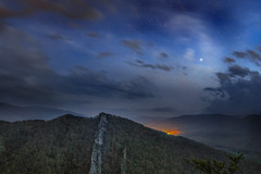 Sirius on the Rocks (reflectioninapool) Tags: longexposure trees light sky mountains nature night clouds forest stars landscape outdoors spring scenery rocks top scenic climbing westvirginia astrophotography valley rectangle appalachia lightpollution nelsonrocks northforkvalley
