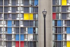 Street ligth and windows (Lucie Maru) Tags: lighting city windows color town streetlight doors streetlamp balconies housing condos dowtown appartments urbanliving uran colorblocks