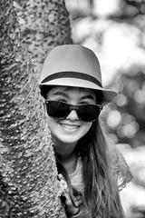 52 in 2016 Challenge - #1 - Portrait (crafty1tutu (Ann)) Tags: park portrait people blackandwhite bw tree girl monochrome hat challenge anncameron 1portrait crafty1tutu canon7dmkii canon28300lserieslens 52in2016challenge