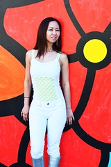 Painted Flower (Lexmax08) Tags: woman white sexy beautiful female silver painting asian daylight model tank bright boots top metallic jeans shoulders