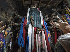 Statues of Guardian deities with covered faces (mindweld) Tags: buddhist monastery himalayas thikse ladakh thiksey guardiandiety