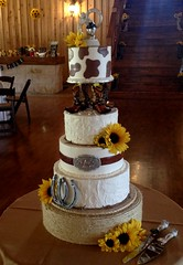 Country Cowboy cake (Sweet Expressions Cakes) Tags: cowboy country rustic horseshoes cowboyboots cowprint
