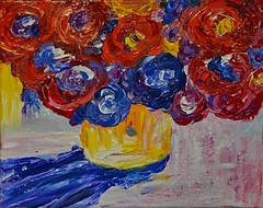 Always Nice to Have Flowers (BKHagar *Kim*) Tags: flowers blue red orange flower art floral yellow painting artwork paint acrylic canvas vase impressionist withmom artday bkhagar