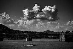 Buda (kareszzz) Tags: sky mountains monochrome clouds contrast river boat blackwhite hungary cloudy budapest may photowalk duna dramaticsky danube margithd 2016 tamron18200 vroskpek sonya200