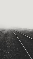 On the tracks to no where (alexanderwhit19) Tags: tracks railway fog mist dusk evening wet damp eerie haunting ghostly bw blackandwhite grey