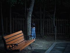Hide and Seek (EmreKanik) Tags: blue tree cute girl bench dress hideandseek