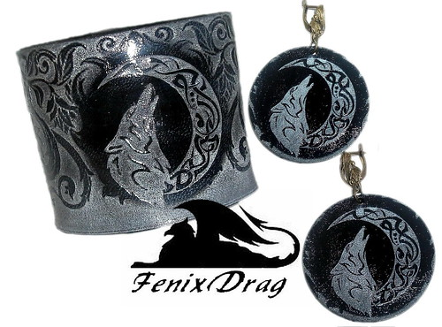 """Natural black wide leather and earrings """"Grey Wolf"""" carved, moon, pattern, Tribal, Ethnic, Boho accessories and jewellery"""