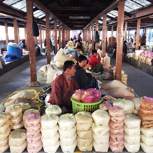 This section of the market sells the dry goods like flour, rice, cereals, etc.  #bhutan #thimphu #wanderlust #travel
