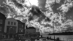 Old Portsmouth (Mark.L.Sutherland) Tags: sea sky people blackandwhite bw sun clouds streetphotography samsung hampshire solent portsmouth pubs seafront phonecamera oldportsmouth stillandwest galaxys5