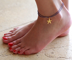 Delicate Blue Anklet With Starfish Pendant - Multistrand Ankle Bracelet - Anklet Double Strand - Colorful Anklet (galcohen2014) Tags: blue summer beach foot colorful starfish under jewelry charm gifts gift 25 bracelet bridesmaid delicate ankle dainty anklet
