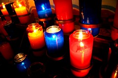 Mission Candles (Photographing Travis) Tags: blue cameracanoneosdigitalrebelxt candles church color missions prayer red salinas year2008 mission 2008