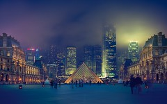 Station : Paris (Pyramid - The Louvre) - Terminus : Hong kong (hebiflux) Tags: city light hk paris station fog night photography hongkong bay pyramid louvre foggy hong kong concept 500px ifttt