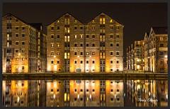 Gloucester Docks (andyg1962) Tags: light reflection water night docks buildings dark lights low illumination quay gloucester wharfs gloucstershire