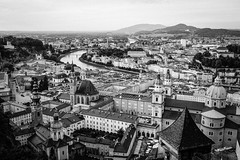 Old town of Salzburg ('SandFlash) Tags: old travel blackandwhite bw music salzburg architecture river austria town europe salt medieval german sound mines vista altstadt mozart salzach