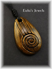 Heart of earth big drop pendant (Eala's Jewels) Tags: spiral handmade jewelry drop carving clay swirl celtic pendant polymer ealajewels
