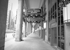 Day 28 - (Almost) 365 Day Project (chuckrim) Tags: christmas old school winter blackandwhite bw white house holiday snow chicago black art beautiful architecture contrast drive opera holidays civic deco timeless wacker
