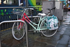 P1070635 Bobbin Birdie Bicycle (Lawrence Holmes.) Tags: uk flowers bicycle lumix basket leeds cycle commuter g2 20mm thecornexchange sooc onyerbike