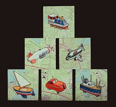 Completed Set of Small Paintings - November, 2014 / Explored! (steveartist) Tags: art sailboat watercolor boats automobile maps ships airplanes paintings vehicles locomotive artworks blimps whimsicalart explored smallpaintings stevefrenkel