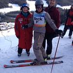 Former Olympian, Gary Athans forerunning the Teck Okanagan Zone Slalom at Apex Resort.  Pictured with starter Jen Anderson and Start Ref Chris Pasin, both of Apex Ski Club
