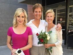 Channel 3 Karen Brown at the courthouse as gay marriage become legal in AZ (karenbrowntv) Tags: arizona 3 news phoenix az anchor channel cbs 3tv karenbrown ktvk azfamily