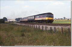47555  'The Commonwealth Spirit' heads 1V52, the 0950 Glasgow - Plymouth at Nibley,  July 3rd 1989 (Bristol RE) Tags: 47555 class47 47 brush nibley thecommonwealthspirit icda d1717 1717 47126 1v52