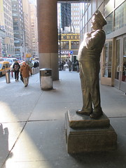 Ralph Kramden on a Sunny Day 3615 (Brechtbug) Tags: new york city winter holiday cold bus weather statue bronze port lunch is jackie uniform day authority january tie sunny front terminal an midtown his while chilly jolly gleason ralph stands drivers straightening pail clutching clad manhattans honeymooners 2015 kramden eightfoottall kramdon 01082015